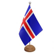 ICELAND - TABLE FLAG WITH WOODEN BASE